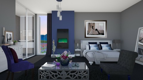 Smokey And Blue - Modern - Bedroom  - by janip