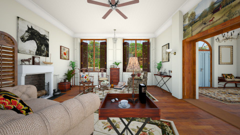Colonial Style Home - Classic - Living room  - by evahassing