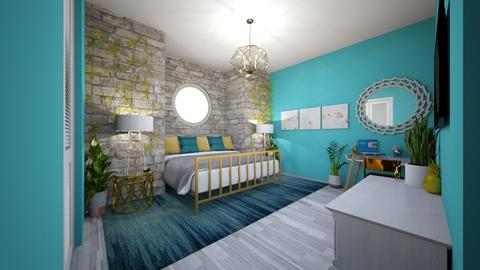 gold metal turquoise - Bedroom - by mayaann_10