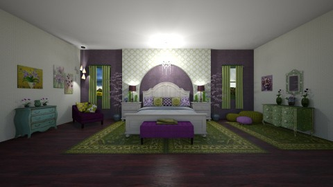 Purple and Green Bedroom  - Classic - Bedroom  - by  krc60
