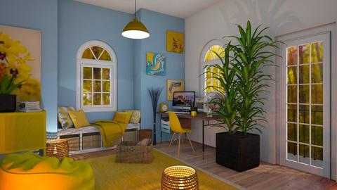 yellow and blue workspace - Office  - by thompsoni