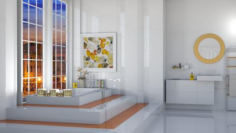 orange white bathroom - by nat mi