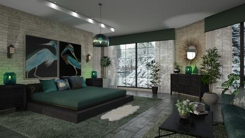 Green Nero BR - Rustic - Bedroom  - by ZsuzsannaCs