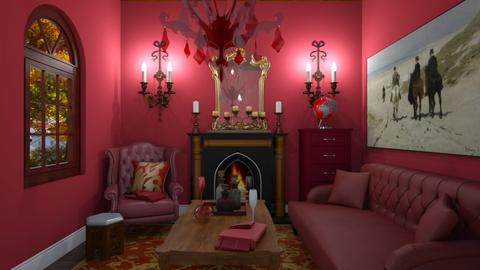 Red theme living room - by nonanymous_