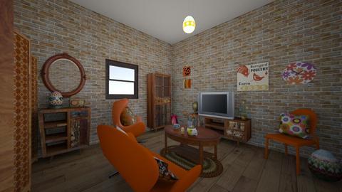 retro egg room - Living room  - by tillyc
