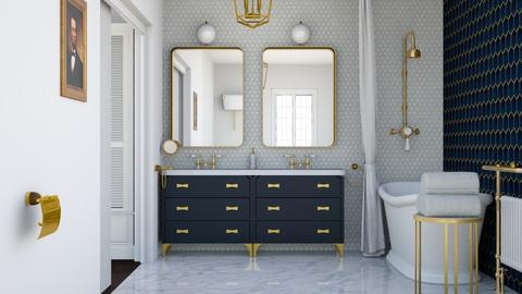 Navy and gold - Bathroom  - by Charipis home