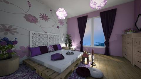 Purple bedroom - Bedroom - by Denisa250