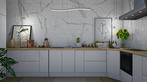 marble wall kitchen - Kitchen  - by Briianaaa