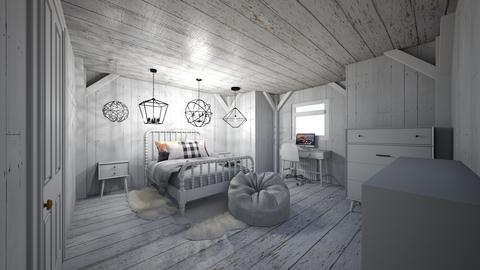 ModernCozyDestressedWoodR - Minimal - Bedroom  - by jade1111