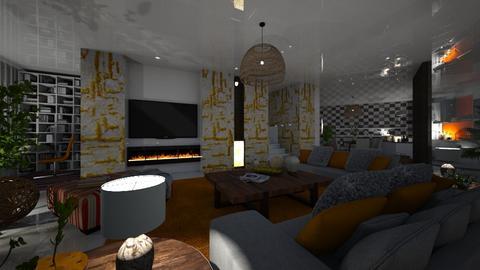 Grey - Rustic - Living room  - by nanabpf