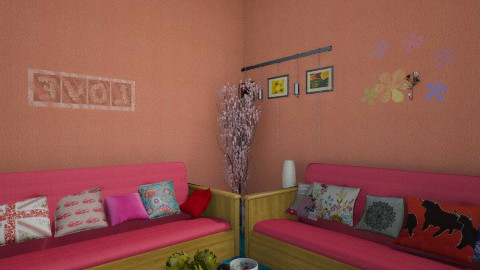 Pink and Colors - Feminine - Living room  - by LopezLaura