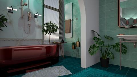 Turquoise and Rose Gold  - Eclectic - Bathroom - by jerriora