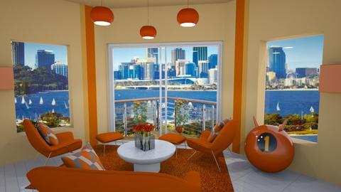 orange retro - Living room  - by Phospective