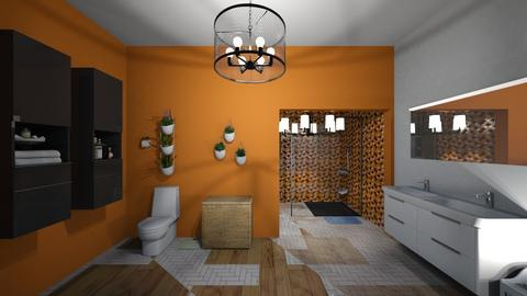 orange and white bathroom - Bathroom  - by vicc44