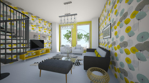 GRyel - Retro - Living room  - by Saj Trinaest