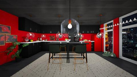 Red Eclectic Kitchen - Eclectic - Kitchen - by Yui Soo