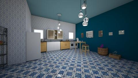blue mosaic kitchen - Kitchen - by Katarina1999