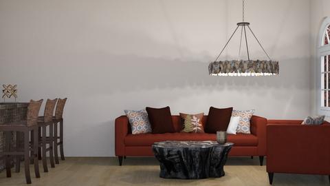 Red living  - Living room  - by Oyisha
