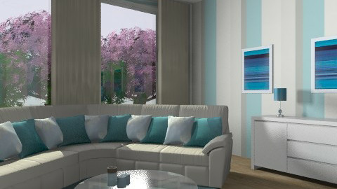blue and white - Minimal - Living room - by kayt20072007
