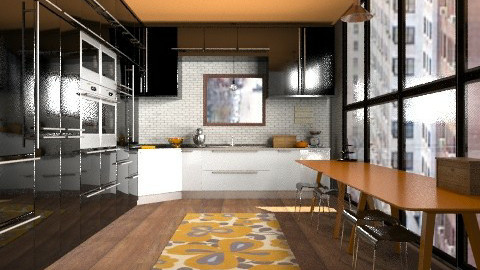 Orange Kitchen - Modern - Kitchen  - by Rechoppy92