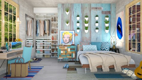 Blue Themed cool classy boho chic Bedroom - Modern - Bedroom - by creativediva