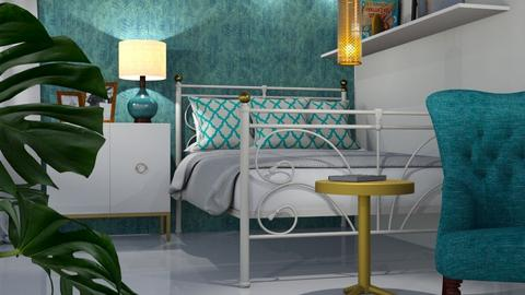 Turquoise And Metal Bedro - Bedroom - by ivetyy1010