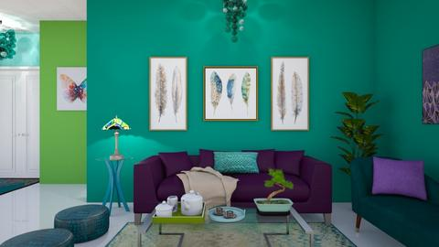 peacock room - Retro - Living room  - by Starry Eyed Loser