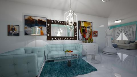 Turquoise and metal - Living room - by Nursawitri
