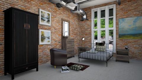 industrial rustic bedroom - by steker2344