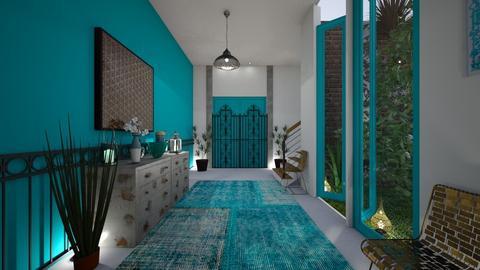 Turquoise Metal Hallway - by Themis Aline Calcavecchia