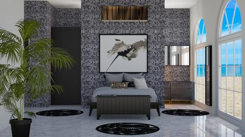 black and white bedroom - Bedroom  - by Corzer