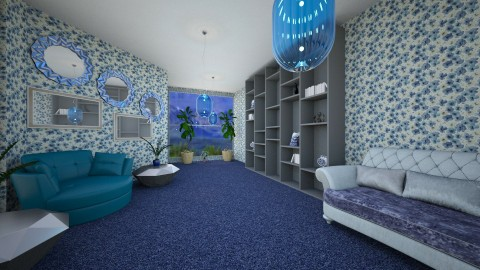 BlueLivingRoom - Global - Living room  - by lori gilluly