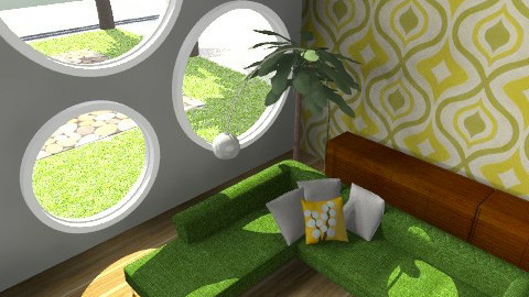 Chilin' Green 2 - Retro - Living room  - by juhaszrena