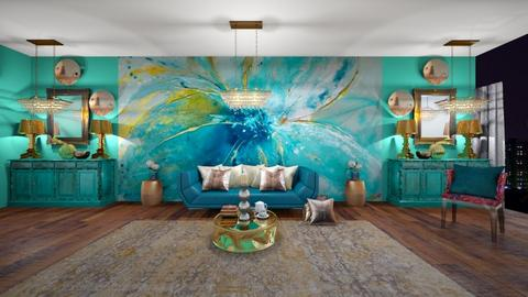 turquoise and gold - Living room - by block44