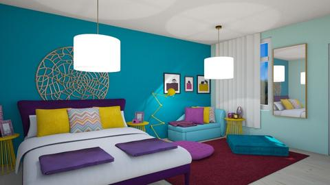 Color Clash - Retro - Bedroom  - by aggelikimar