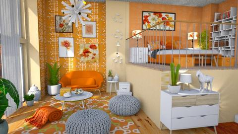 orange_white apartment - Living room  - by Moonpearl