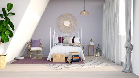 lavender attic bedroom - Bedroom  - by elia07