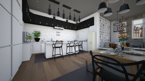 kitchen for a family - Modern - Kitchen  - by Evangeline_The_Unicorn
