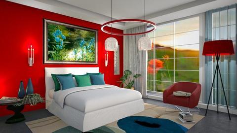 M_ Blue poppies - Bedroom - by milyca8