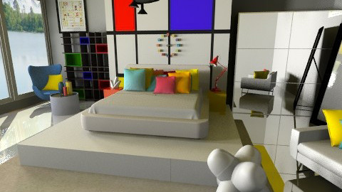 A Little Modrian - Eclectic - Bedroom  - by idesine
