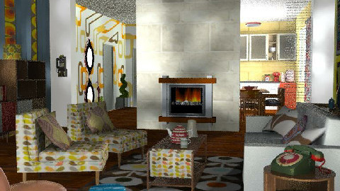 Retrospective   - Retro - Living room  - by bizarrrr