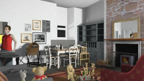 wee red toon  - Country - Living room - by nonehpets