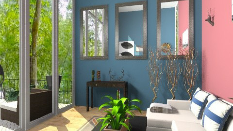 Living Room With Patio - Retro - Living room  - by nikanarbut