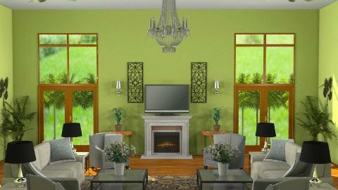 Green Living Room - Eclectic - Living room  - by wwrightsc