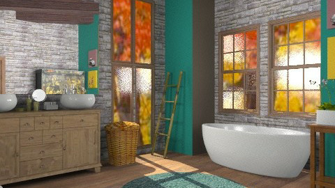 autumn leaves - Vintage - Bathroom  - by boccadirosa
