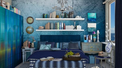 blue bedroom  - Eclectic - Bedroom  - by Ida Dzanovic