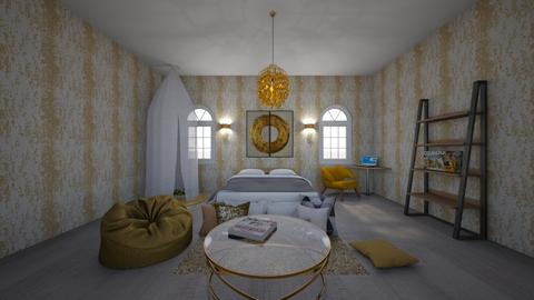 Golden Bedroom - Kids room  - by tacopiplup