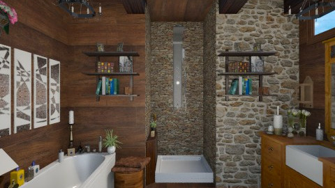 bathroom wood stone - Bathroom  - by sacikae