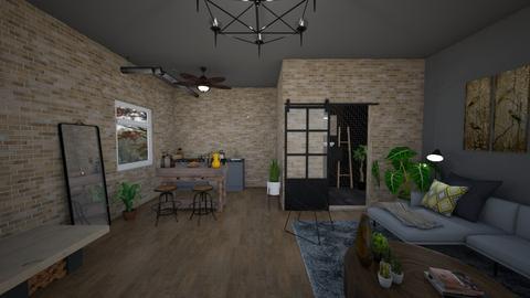 industrial living room  - Rustic - Living room  - by mari92u6