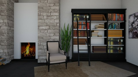 Reading by the Fire - Rustic - Living room  - by millerfam
